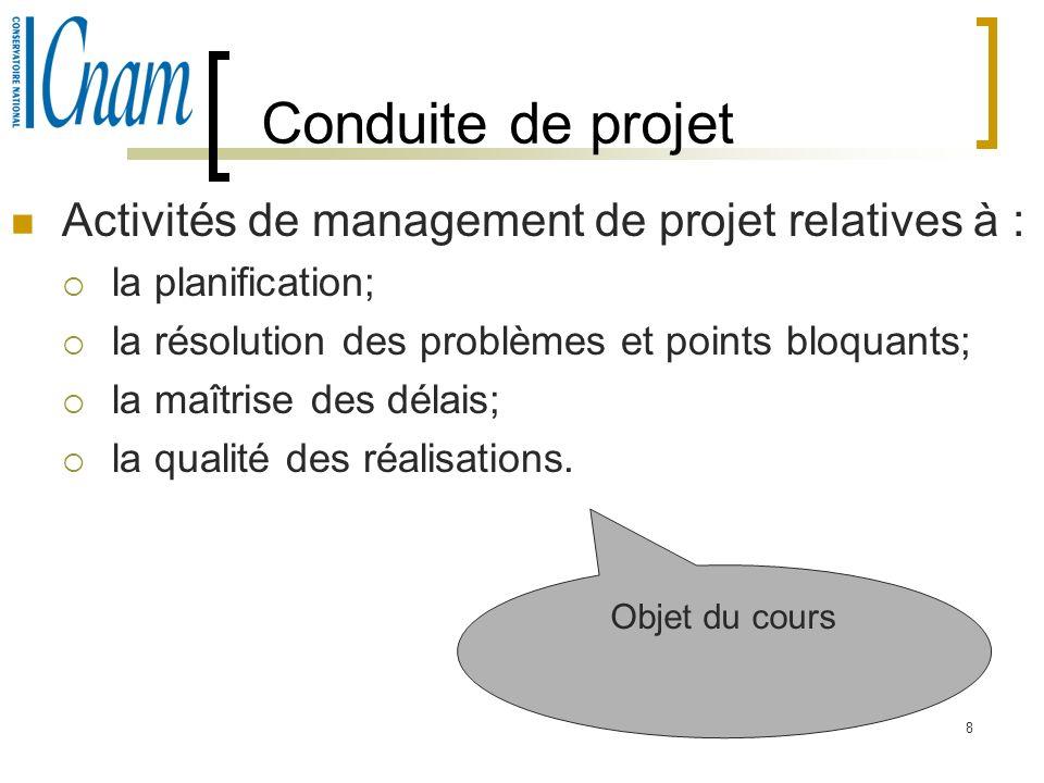 8 Conduite de projet Activités de management de projet relatives à : la planification; la résolution des problèmes et points bloquants; la maîtrise de