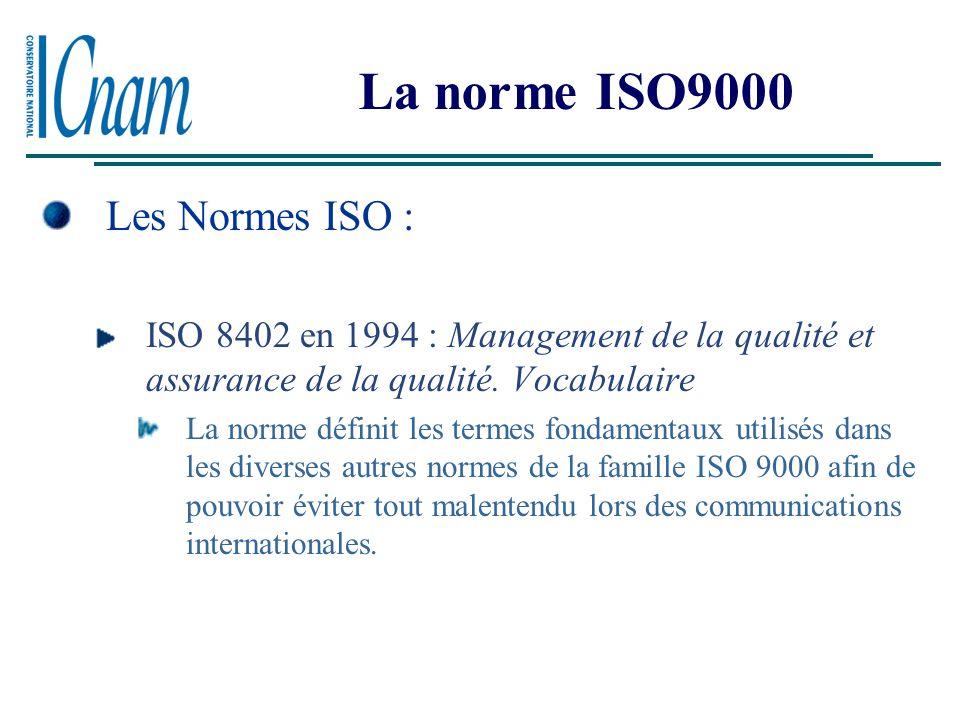 La norme ISO9000 La norme ISO se décline en trois normes spécifiques internationales et ont évoluées avec le besoin des entreprises. Entreprises manuf