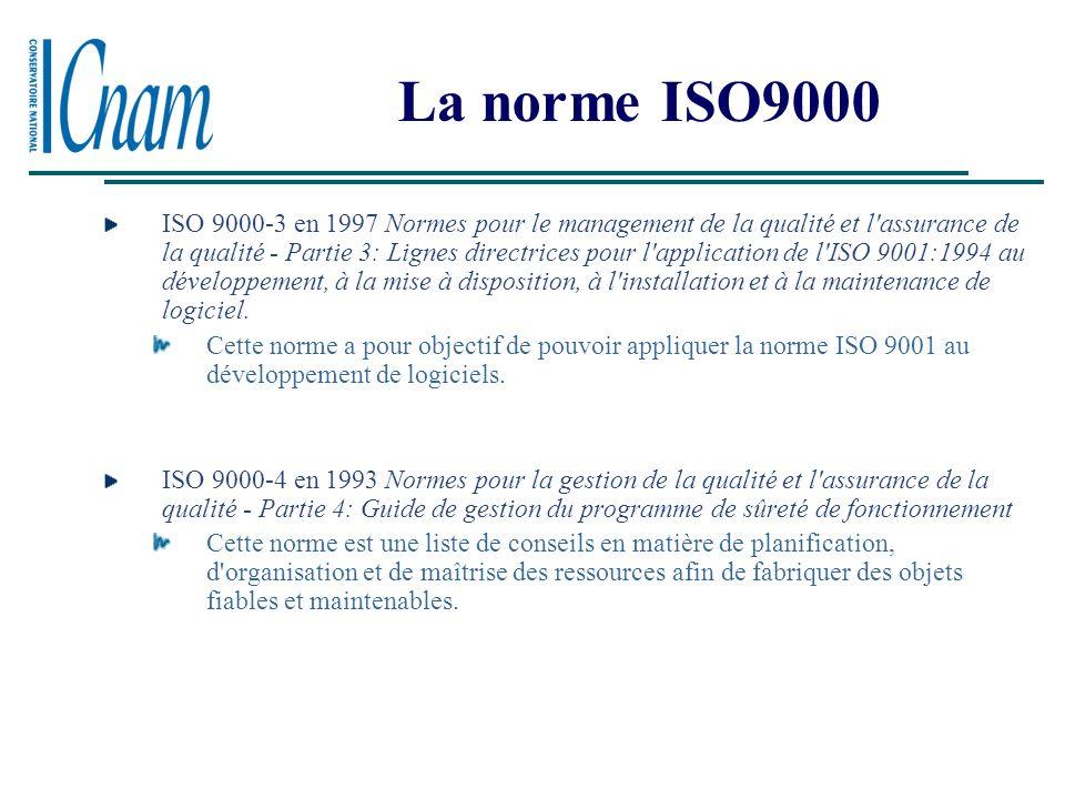 La norme ISO9000 ISO 9000-1 en 1994 Norme pour le management de la qualité. Partie 1 : Ligne directrice pour leur sélection et utilisation. La norme c