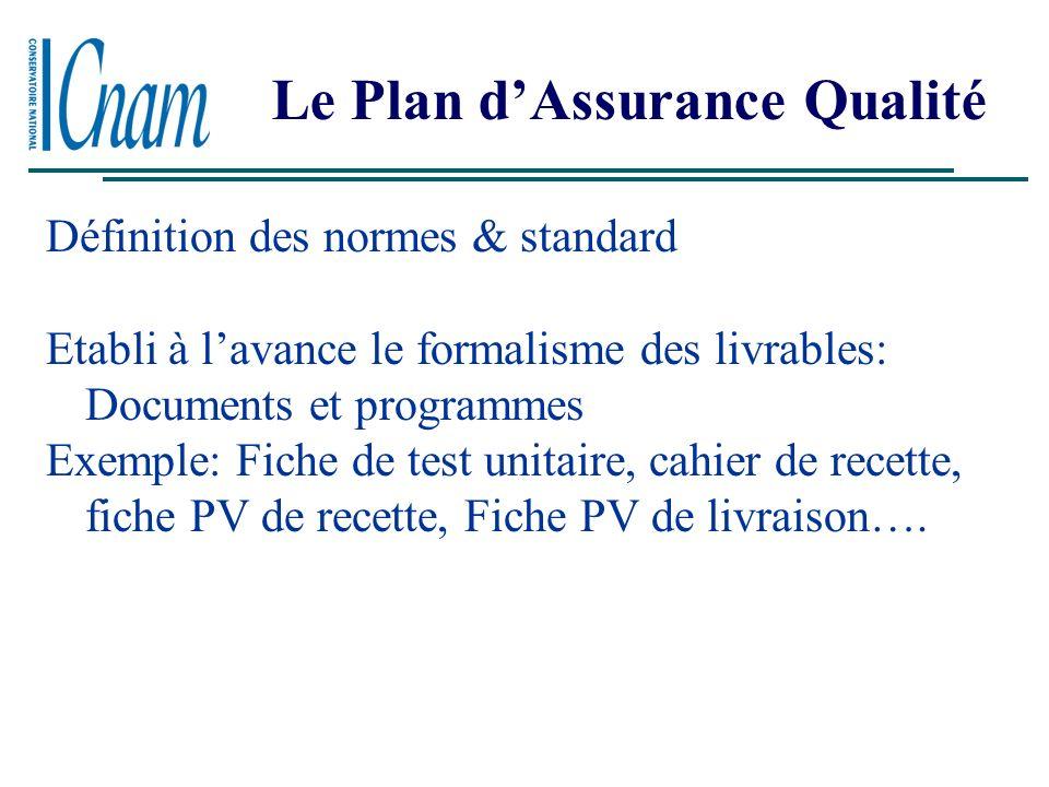 Le Plan dAssurance Qualité Méthodologie des tests à suivre Exemple le cycle de développement en V et la répartion des taches par phases et par fonctio