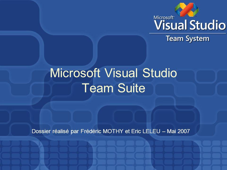 Microsoft Visual Studio Team Suite Dossier réalisé par Frédéric MOTHY et Eric LELEU – Mai 2007