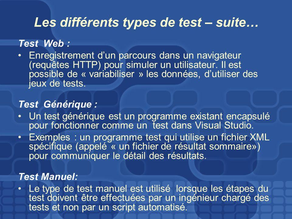 Les différents types de test – suite… Test Web : Enregistrement dun parcours dans un navigateur (requêtes HTTP) pour simuler un utilisateur.