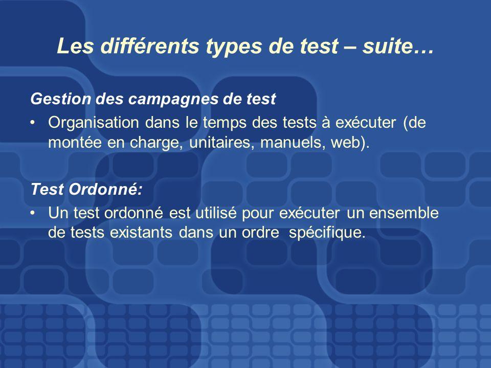 Les différents types de test – suite… Gestion des campagnes de test Organisation dans le temps des tests à exécuter (de montée en charge, unitaires, manuels, web).