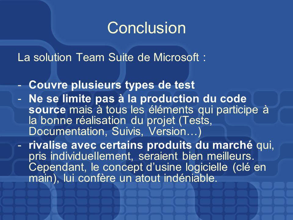 Conclusion La solution Team Suite de Microsoft : -Couvre plusieurs types de test -Ne se limite pas à la production du code source mais à tous les éléments qui participe à la bonne réalisation du projet (Tests, Documentation, Suivis, Version…) -rivalise avec certains produits du marché qui, pris individuellement, seraient bien meilleurs.