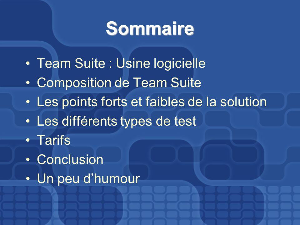 Sommaire Team Suite : Usine logicielle Composition de Team Suite Les points forts et faibles de la solution Les différents types de test Tarifs Conclusion Un peu dhumour