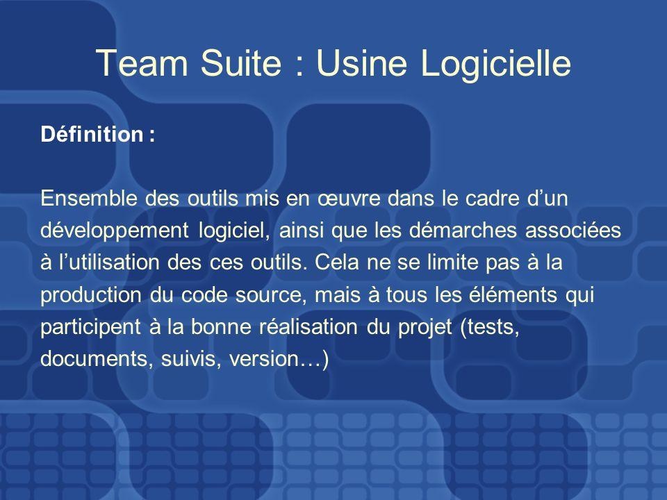 Team Suite : Usine Logicielle Définition : Ensemble des outils mis en œuvre dans le cadre dun développement logiciel, ainsi que les démarches associées à lutilisation des ces outils.