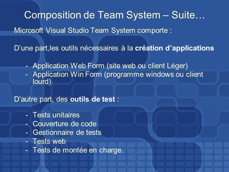 Composition de Team System – Suite… Microsoft Visual Studio Team System comporte : Dune part,les outils nécessaires à la création dapplications -Application Web Form (site web ou client Léger) -Application Win Form (programme windows ou client lourd).