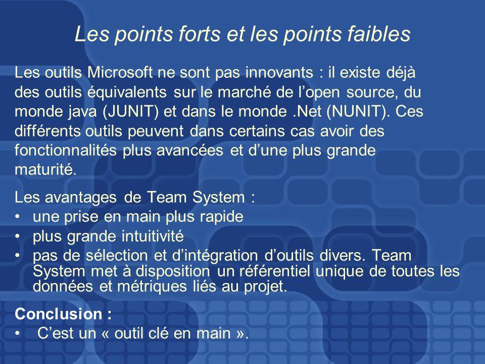 Les points forts et les points faibles Les outils Microsoft ne sont pas innovants : il existe déjà des outils équivalents sur le marché de lopen source, du monde java (JUNIT) et dans le monde.Net (NUNIT).