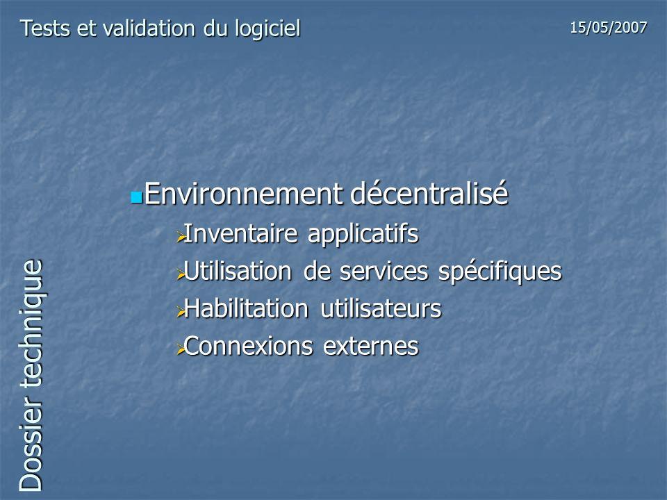 Dossier technique Environnement décentralisé Environnement décentralisé Inventaire applicatifs Inventaire applicatifs Utilisation de services spécifiq
