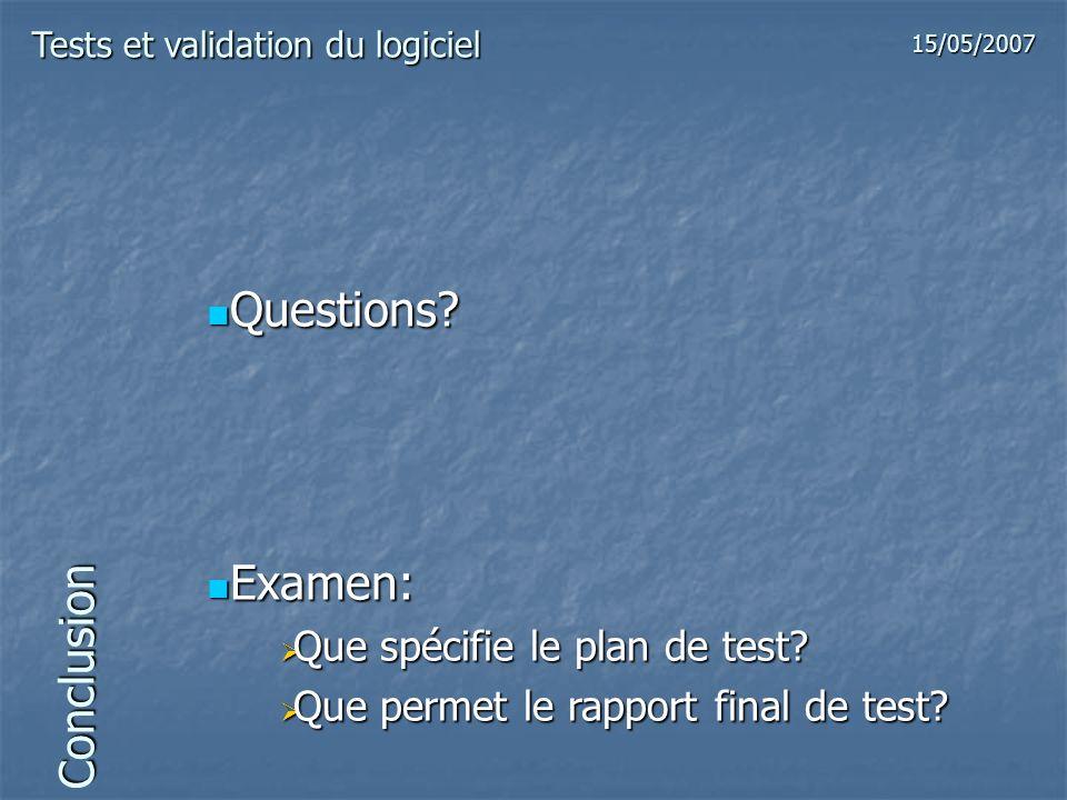Conclusion Questions? Questions? Examen: Examen: Que spécifie le plan de test? Que spécifie le plan de test? Que permet le rapport final de test? Que