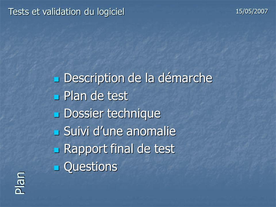 Plan Description de la démarche Description de la démarche Plan de test Plan de test Dossier technique Dossier technique Suivi dune anomalie Suivi dun