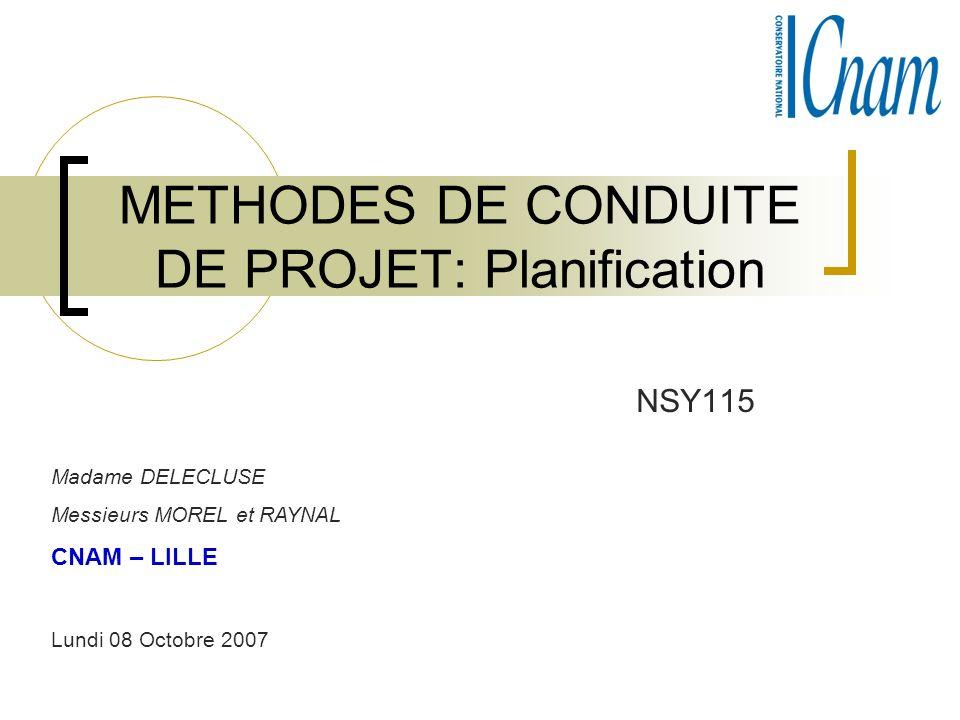 METHODES DE CONDUITE DE PROJET: Planification NSY115 Madame DELECLUSE Messieurs MOREL et RAYNAL CNAM – LILLE Lundi 08 Octobre 2007