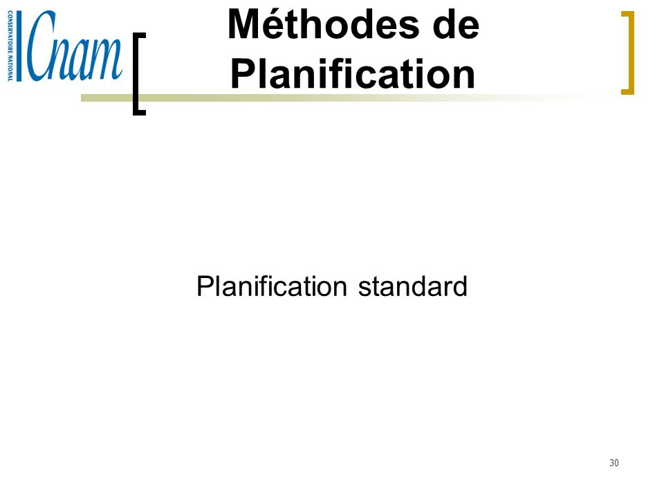 30 Méthodes de Planification Planification standard