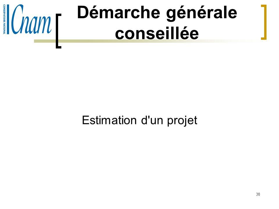 38 Démarche générale conseillée Estimation d'un projet