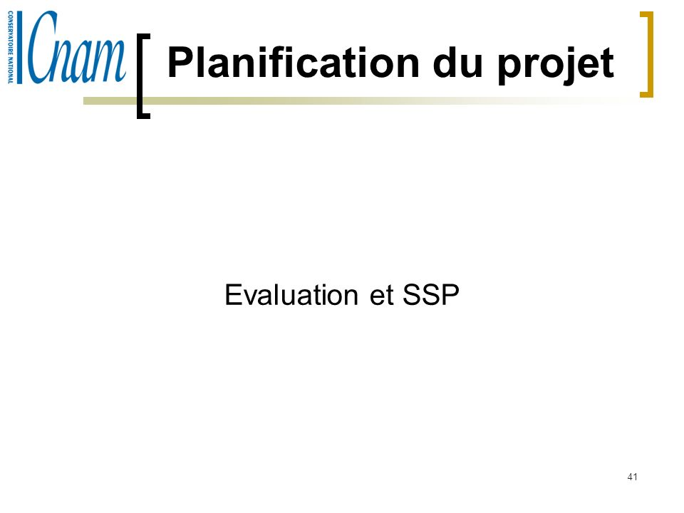 41 Planification du projet Evaluation et SSP
