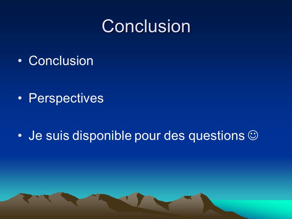 Conclusion Conclusion Perspectives Je suis disponible pour des questions
