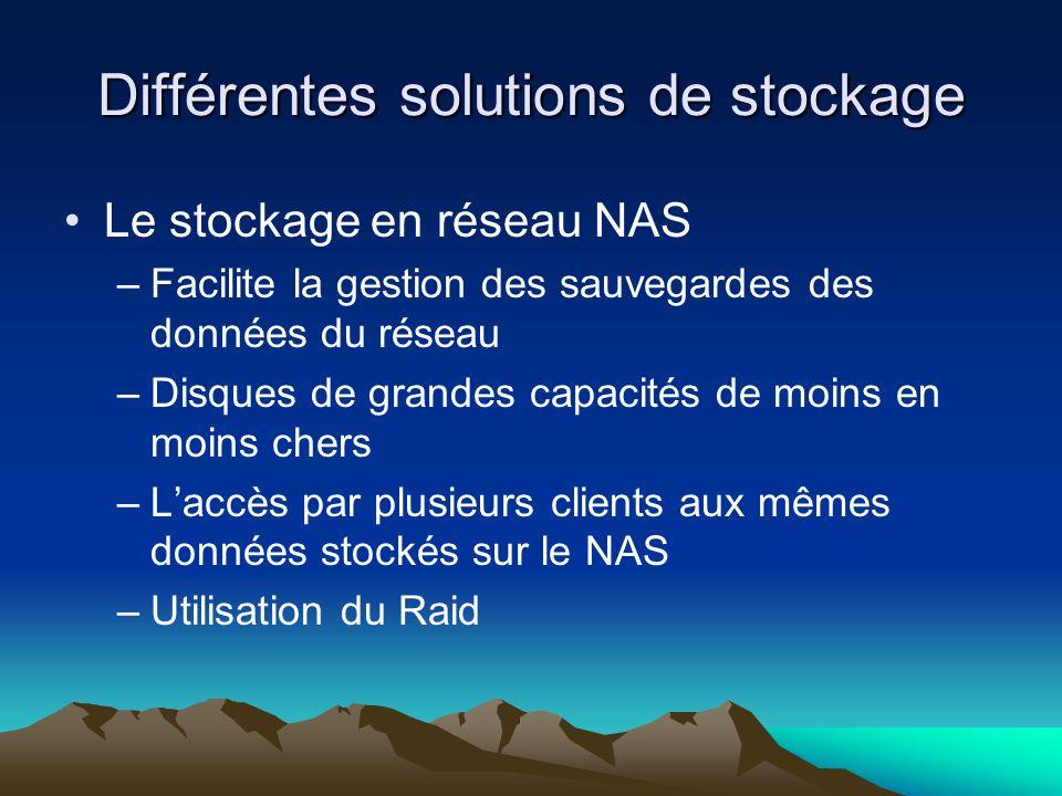 Différentes solutions de stockage Le stockage en réseau NAS –Facilite la gestion des sauvegardes des données du réseau –Disques de grandes capacités d
