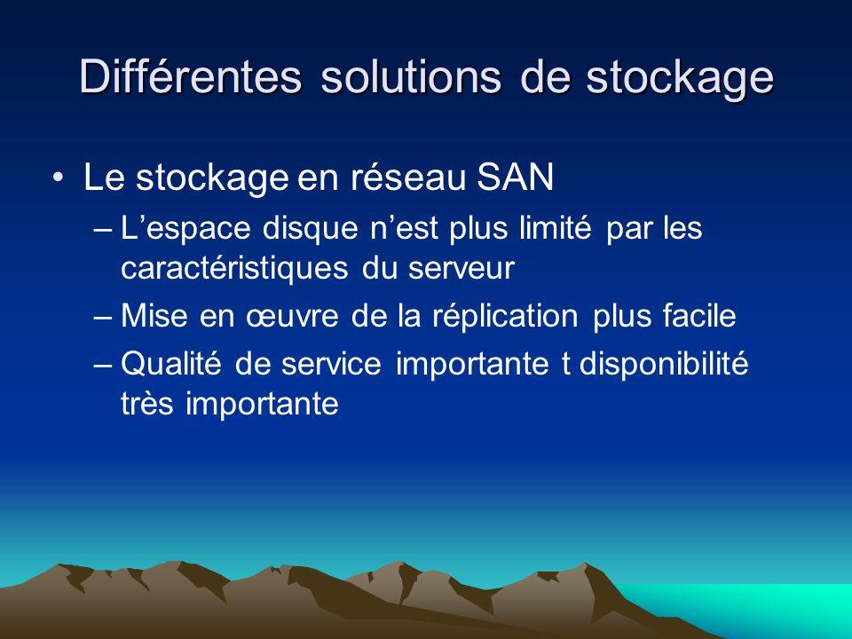 Différentes solutions de stockage Le stockage en réseau SAN –Lespace disque nest plus limité par les caractéristiques du serveur –Mise en œuvre de la