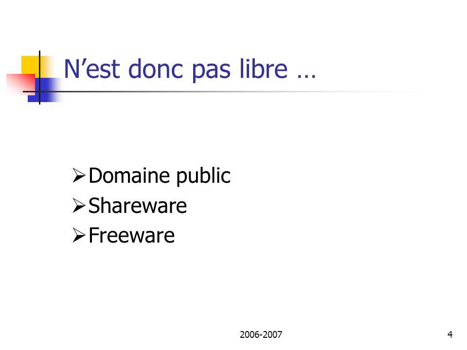 2006-20075 Historique du logiciel libre 1971-1980 : ITS vs PDP11 1974 – 1984 : Unix vs Sun 1984 : Lancement projet GNU 1989 : 1ère réussite – TCPIP 1992 : Linux 1996 : Apache 1997 : Free Software => Open Source