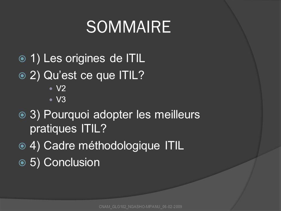 SOMMAIRE 1) Les origines de ITIL 2) Quest ce que ITIL? V2 V3 3) Pourquoi adopter les meilleurs pratiques ITIL? 4) Cadre méthodologique ITIL 5) Conclus