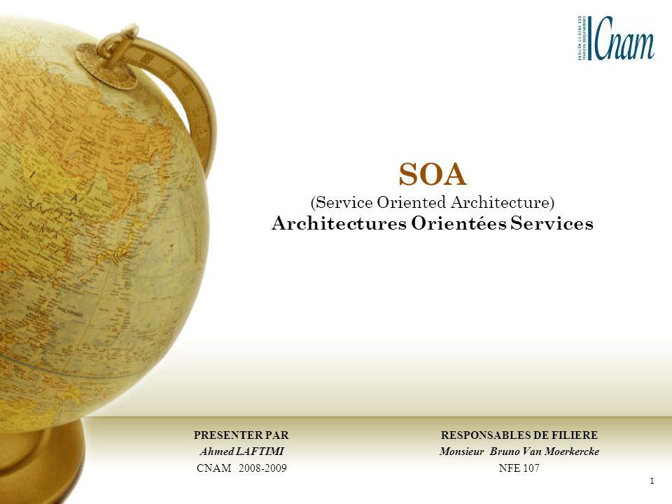 SOA (Service Oriented Architecture) Architectures Orientées Services RESPONSABLES DE FILIERE Monsieur Bruno Van Moerkercke NFE 107 PRESENTER PAR Ahmed