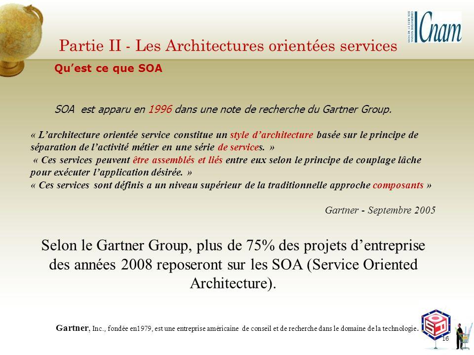 Partie II - Les Architectures orientées services SOA est apparu en 1996 dans une note de recherche du Gartner Group. « Larchitecture orientée service