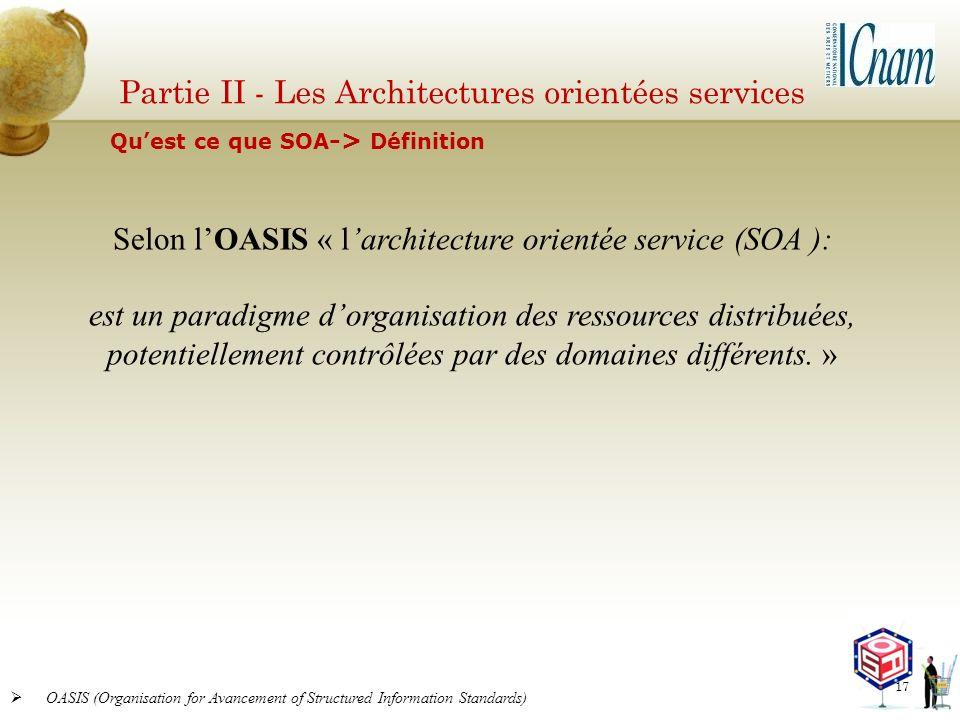 Partie II - Les Architectures orientées services OASIS (Organisation for Avancement of Structured Information Standards) Selon lOASIS « larchitecture