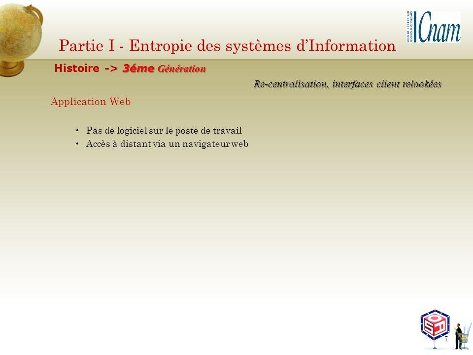 Partie I - Entropie des systèmes dInformation Application Web Pas de logiciel sur le poste de travail Accès à distant via un navigateur web Re-central