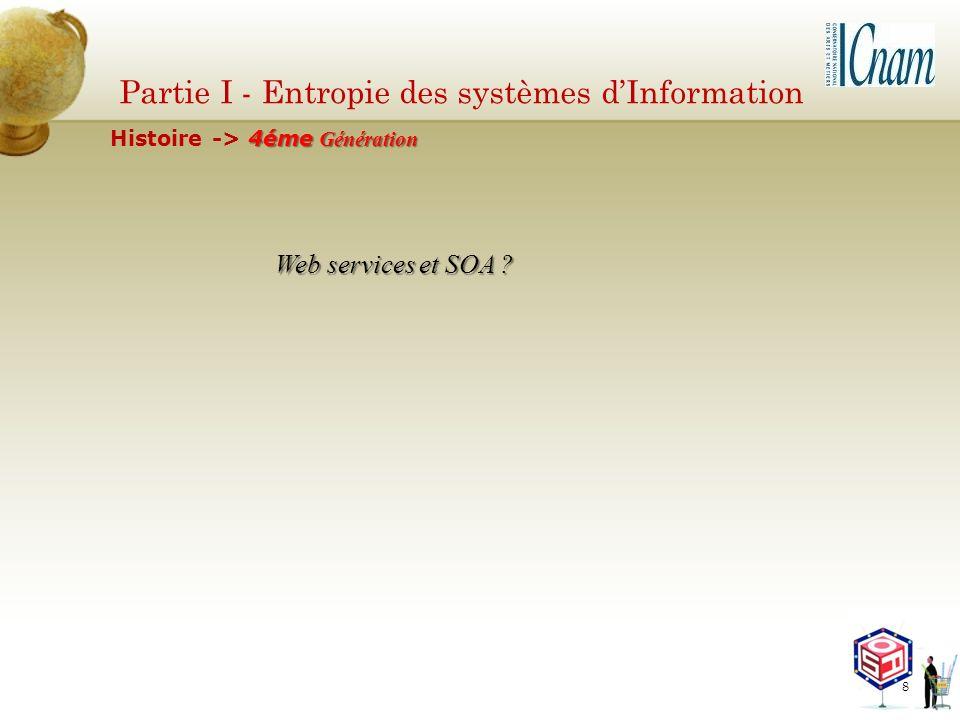 Partie I - Entropie des systèmes dInformation Web services et SOA ? 4éme Génération Histoire -> 4éme Génération 8