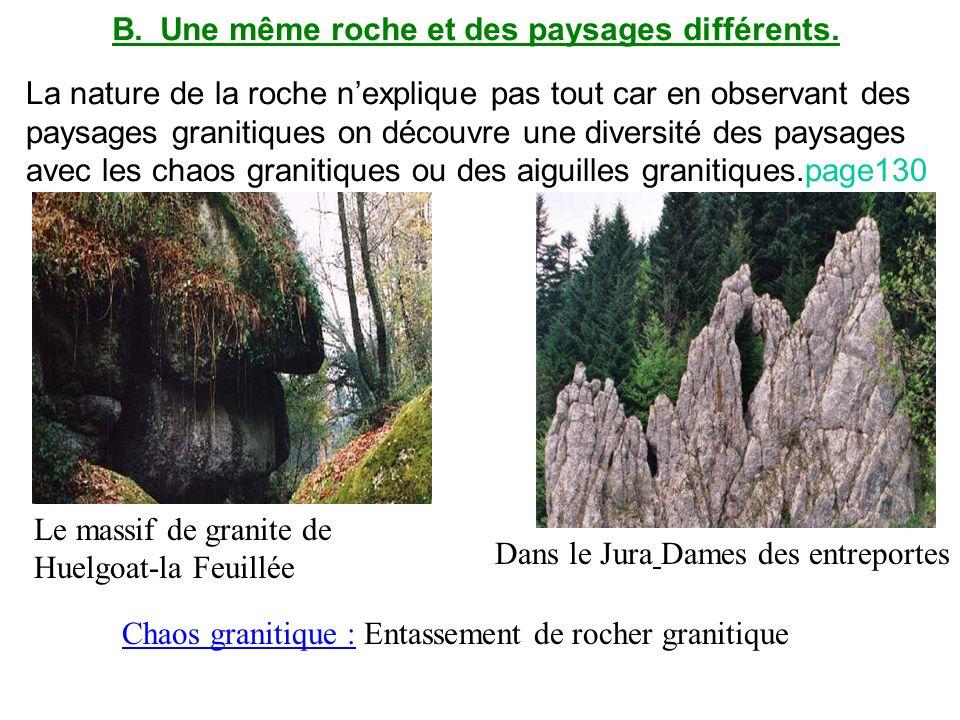 B.Une même roche et des paysages différents. La nature de la roche nexplique pas tout car en observant des paysages granitiques on découvre une divers