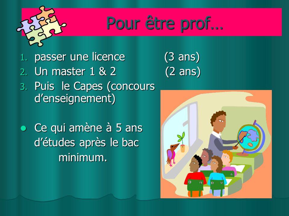 Pour être prof… Pour être prof… 1.passer une licence (3 ans) 2.