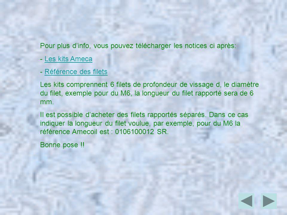 Pour plus dinfo, vous pouvez télécharger les notices ci après: - Les kits AmecaLes kits Ameca - Référence des filetsRéférence des filets Les kits comp