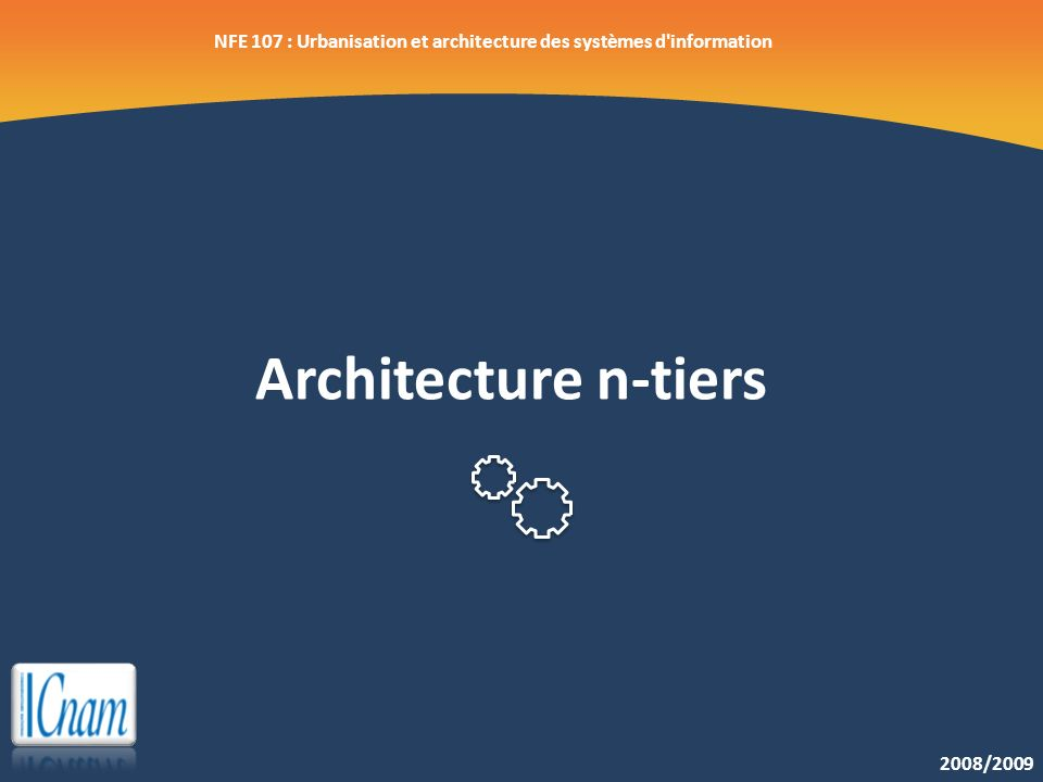 Architecture n-tiers 2008/2009 NFE 107 : Urbanisation et architecture des systèmes d'information