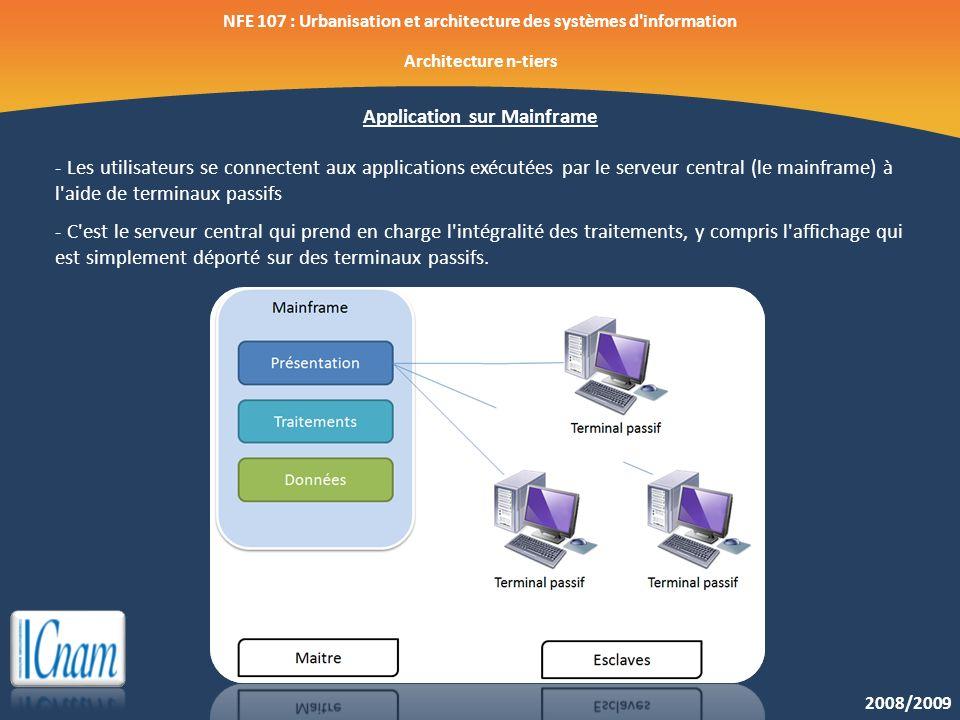 2008/2009 NFE 107 : Urbanisation et architecture des systèmes d'information Architecture n-tiers Application sur Mainframe - Les utilisateurs se conne