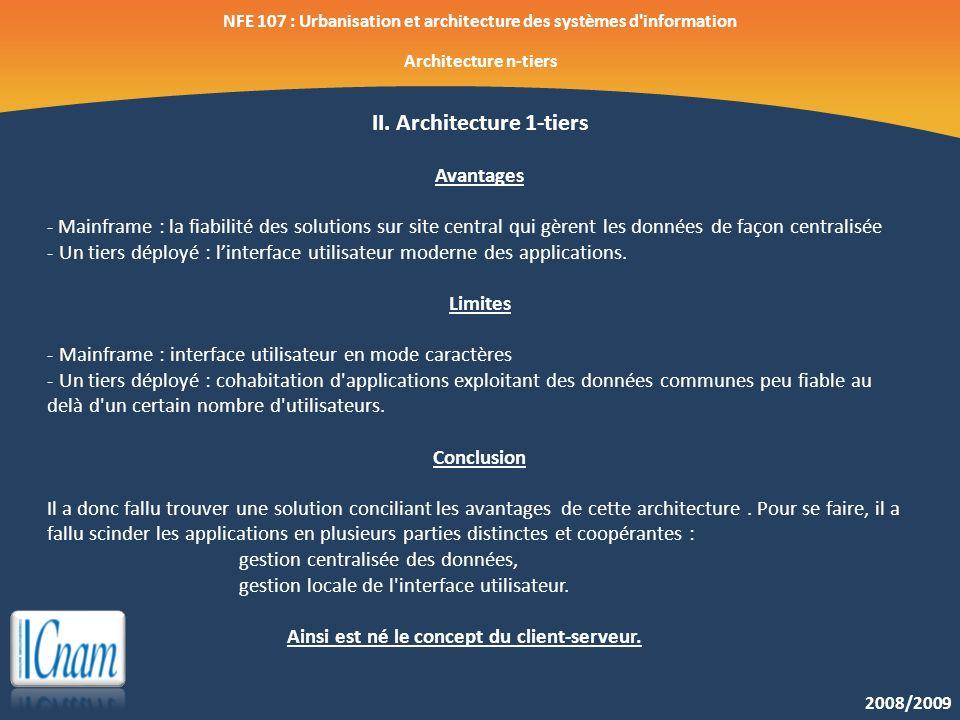 2008/2009 NFE 107 : Urbanisation et architecture des systèmes d'information Architecture n-tiers II. Architecture 1-tiers Avantages - Mainframe : la f