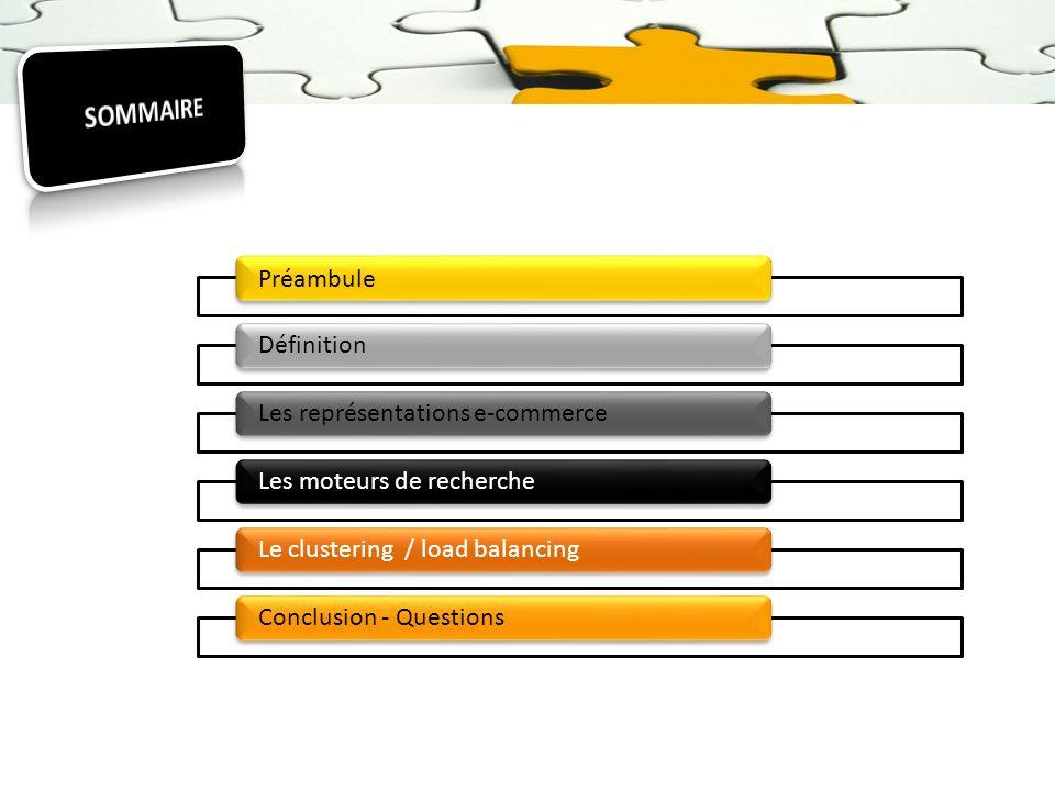 Préambule DéfinitionLes représentations e-commerceLes moteurs de rechercheLe clustering / load balancingConclusion - Questions