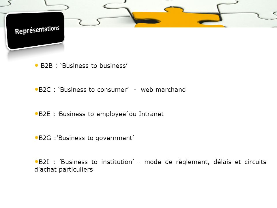 B2B : Business to business B2C : Business to consumer - web marchand B2E : Business to employee ou Intranet B2G :Business to government B2I : Business