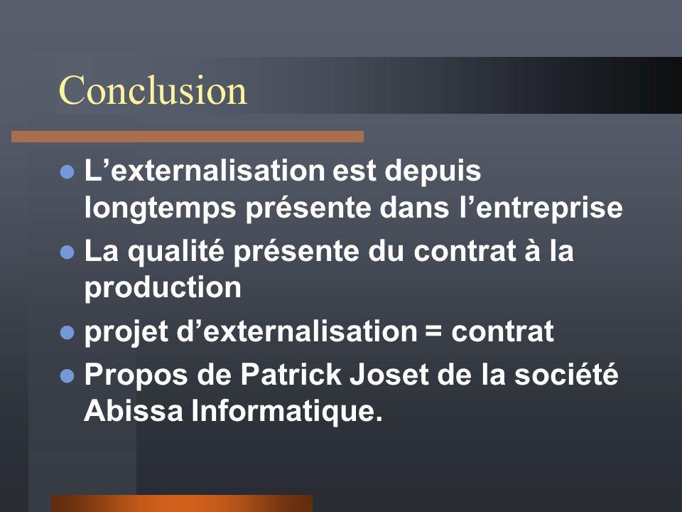 Conclusion Lexternalisation est depuis longtemps présente dans lentreprise La qualité présente du contrat à la production projet dexternalisation = contrat Propos de Patrick Joset de la société Abissa Informatique.