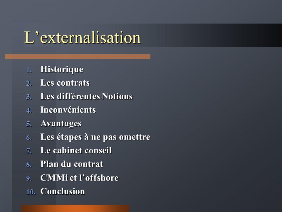 Lexternalisation 1. Historique 2. Les contrats 3. Les différentes Notions 4. Inconvénients 5. Avantages 6. Les étapes à ne pas omettre 7. Le cabinet c