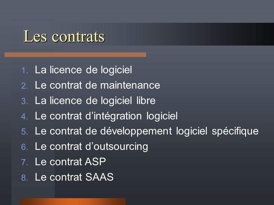 Les contrats 1. La licence de logiciel 2. Le contrat de maintenance 3. La licence de logiciel libre 4. Le contrat dintégration logiciel 5. Le contrat
