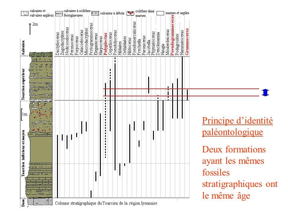 Principe didentité paléontologique Deux formations ayant les mêmes fossiles stratigraphiques ont le même âge