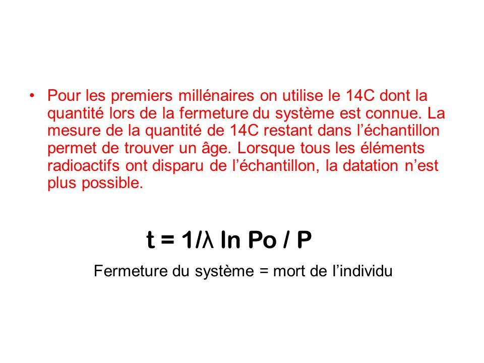 Pour les premiers millénaires on utilise le 14C dont la quantité lors de la fermeture du système est connue. La mesure de la quantité de 14C restant d