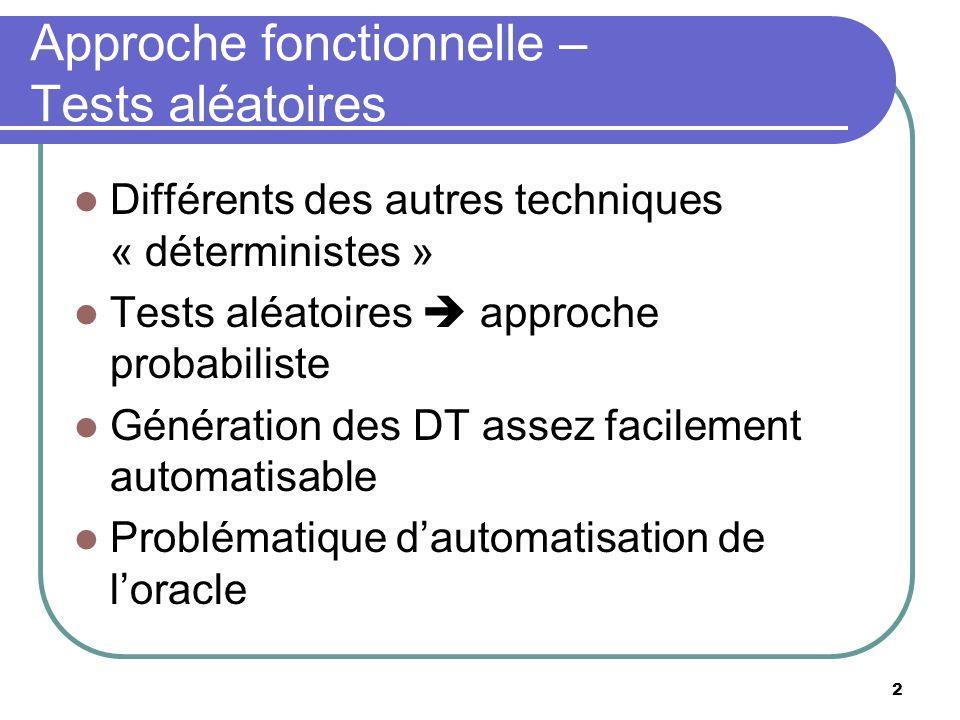 2 Approche fonctionnelle – Tests aléatoires Différents des autres techniques « déterministes » Tests aléatoires approche probabiliste Génération des D
