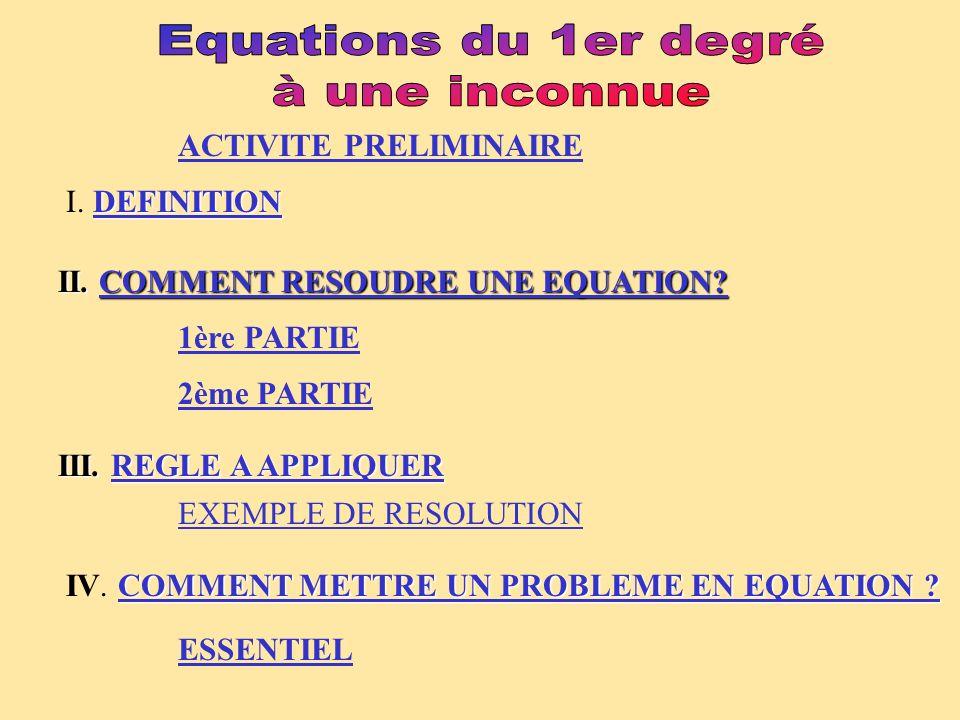 II.COMMENT RESOUDRE UNE EQUATION. ACTIVITE PRELIMINAIRE 1ère PARTIE 2ème PARTIE III.