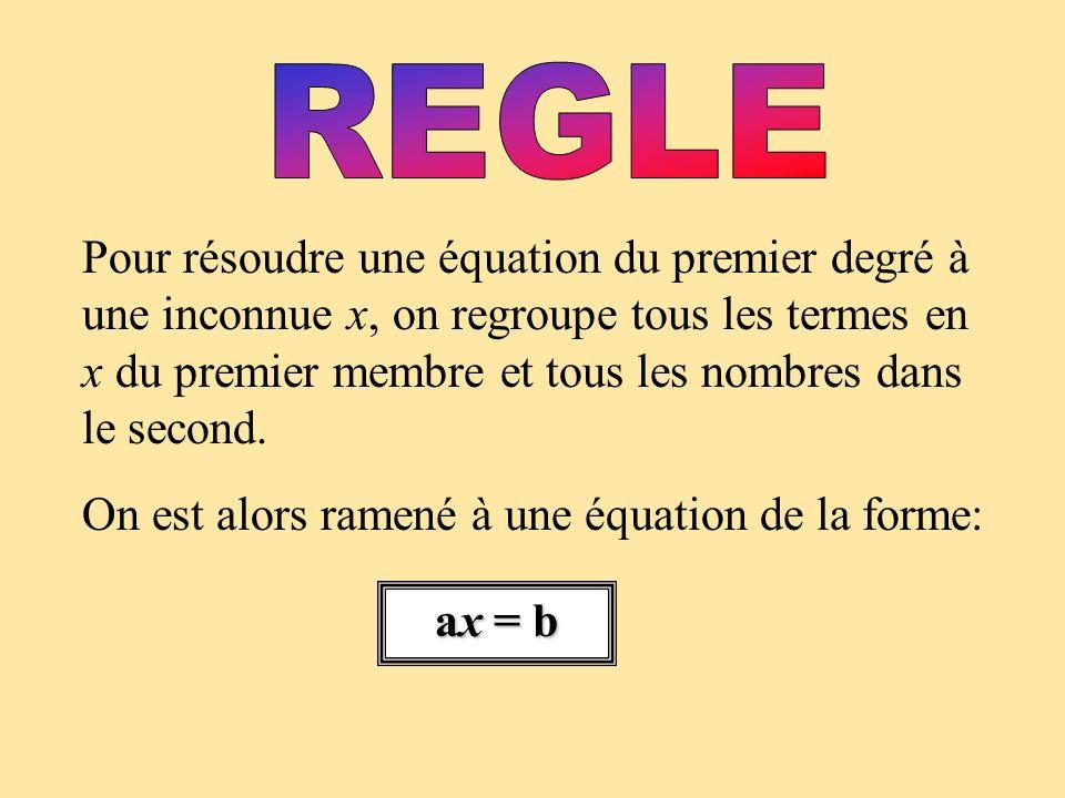 Pour résoudre une équation du premier degré à une inconnue x, on regroupe tous les termes en x du premier membre et tous les nombres dans le second.
