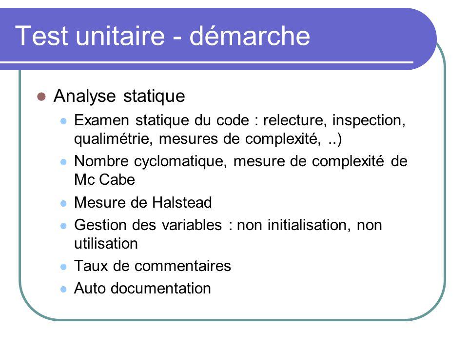 Test unitaire - démarche Analyse statique Examen statique du code : relecture, inspection, qualimétrie, mesures de complexité,..) Nombre cyclomatique,