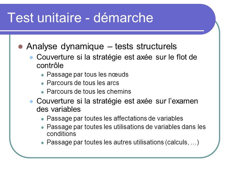 Test unitaire - démarche Analyse dynamique – tests structurels Couverture si la stratégie est axée sur le flot de contrôle Passage par tous les nœuds