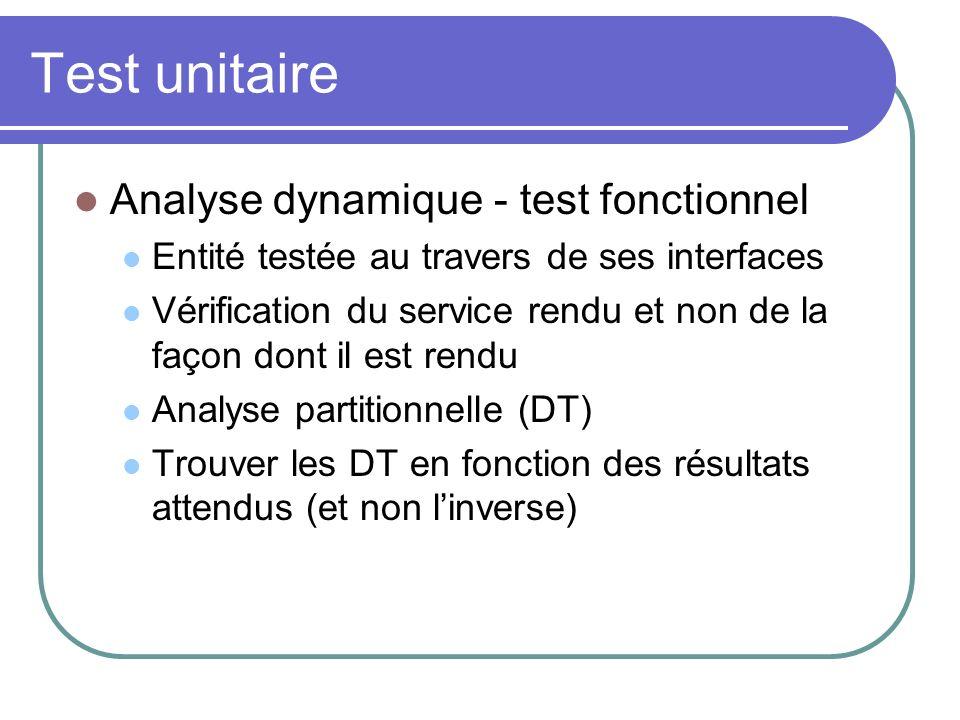 Test unitaire Analyse dynamique - test fonctionnel Entité testée au travers de ses interfaces Vérification du service rendu et non de la façon dont il