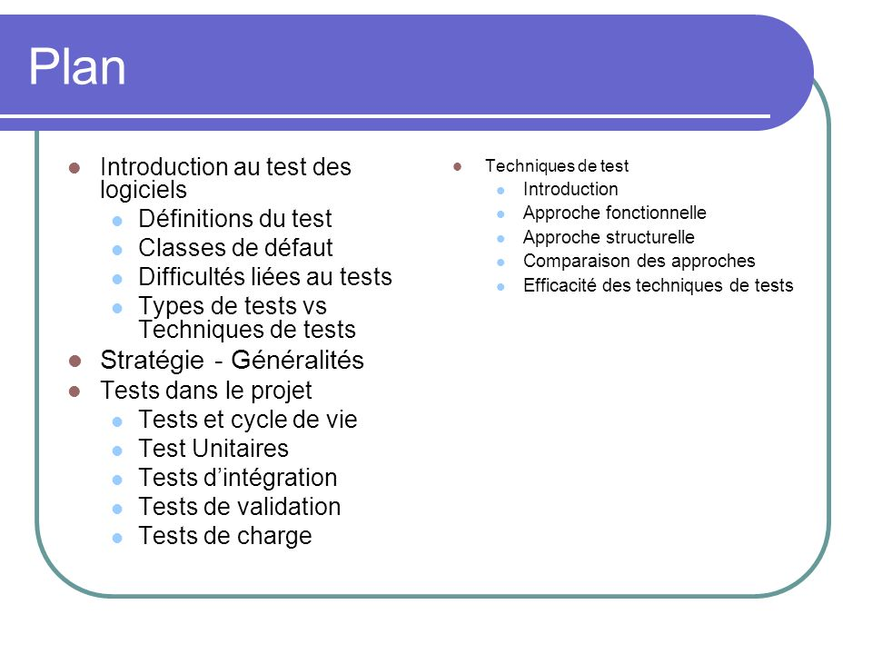 Plan Introduction au test des logiciels Définitions du test Classes de défaut Difficultés liées au tests Types de tests vs Techniques de tests Stratég