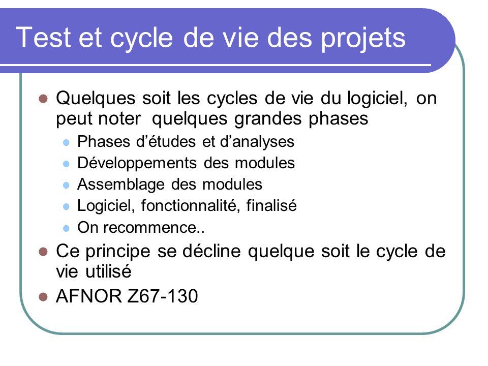 Test et cycle de vie des projets Quelques soit les cycles de vie du logiciel, on peut noter quelques grandes phases Phases détudes et danalyses Dévelo